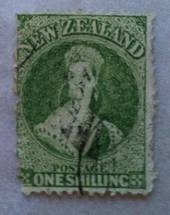 NEW ZEALAND 1862 Full Face Queen 1/- Yellow-Green. Perf 12½ at Auckland. Vey nice copy. - 39290 - FU