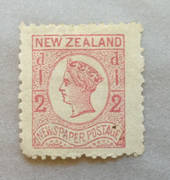 NEW ZEALAND 1873 Newspaper ½d Pale Dull Rose. Watermark Star. Perf nearly 12. Dull corner. Wing margin. - 39453 - Mint