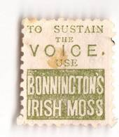 NEW ZEALAND 1882 Victoria 1st Second Sideface 1d Rose. To Sustain the Voice Bonningtons Irish Moss. Perf 10. In green. - 3969 -
