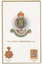 Coloured postcard in excellent mint condition of The King's (Shropshire LI). - 40054 - Postcard