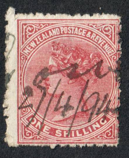 NEW ZEALAND 1882 Victoria 1st Second Sideface 1/- Red-Brown. Perf 12x11½.  3rd setting in Red to Brown-Red. Creases Coffee. Fisc