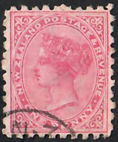NEW ZEALAND 1882 Victoria 1st Second Sideface 1d Red. Lochhead's Wertheim Sewing Machines. Branches Everywhere.  Second setting.
