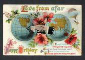 Coloured postcard of Globe of the World and Balloon. Happy Birthday. - 40938 - Postcard