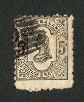 NEW ZEALAND 1882 Victoria 1st Second Sidefaace 5d Olive-Black. Perf 10. Advert Lattey Livermore. - 4204 - used