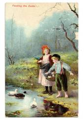 Art card. Feeding the Ducks. - 43765 - Postcard
