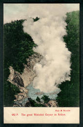 Coloured postcard by Muir and Moodie of Great Wairaki Geyser in action. - 46707 - Postcard