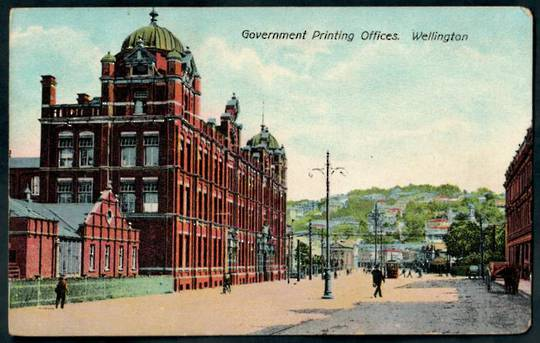 Coloured postcard of Government Printing Offices Wellington. - 47580 - Postcard