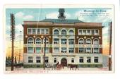 Coloured postcard of Custom House Wellington. Christmas card. Crease. - 47641 - Postcard