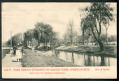 Coloured postcard by Muir and Moodie of Park Bridge entrance to Hagley Park. - 48549 - Postcard