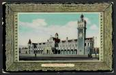 Coloured postcard of Railway Station Dunedin. Faults at corners. - 49158 - Postcard