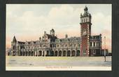 Coloured postcard of Railway Station Dunedin. - 49214 - Postcard