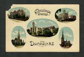 Coloured Postcard of Christmas Greetings from Dunedin. Five views. - 49255 - Postcard