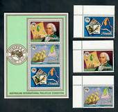 AITUTAKI 1984 Ausipex International Stamp Exhibition. Set of 3 and miniature sheet. - 50124 - UHM