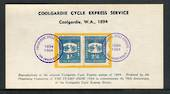 AUSTRALIA 1964 Reproduction of Postcard and Stamps relating to the Coolgardie Cycle Express Service of 1894. - 50380 - Cinderell