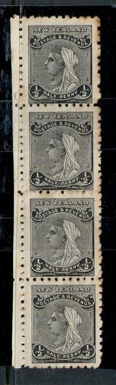NEW ZEALAND 1882 Victoria 1st Definitive ½d Black. Vertical strip of 4. Nice multiple. - 50518 - MNG
