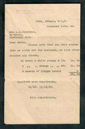 NEW ZEALAND 1935 Letter from Social Credit England to New Zealand supplying Cinderellas to New Zealand. - 50627 - Cinderellas