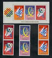 AITUTAKI 1983 World Communications Year. Set of 3 and miniature sheet. - 50810 - UHM