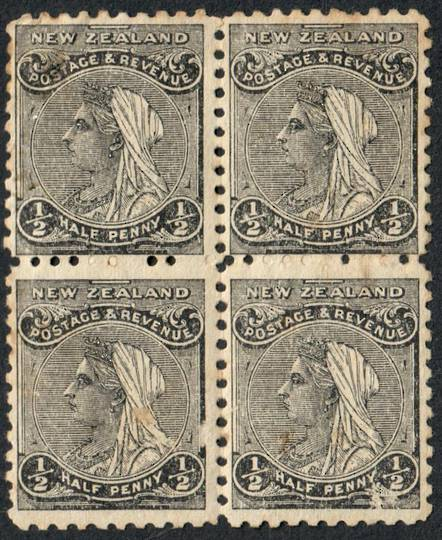 NEW ZEALAND 1882 Victoria 1st Definitive ½d Black. Block of 4. Nice multiple. - 54305 - MNG