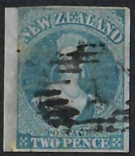 NEW ZEALAND 1855 Full Face Queen 2d Blue on blued paper.  Imperf. Perfect four margins. Postmark detracts. - 60017 - Used