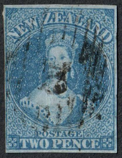 NEW ZEALAND 1855 Full Face Queen 2d Blue on blued paper.  Imperf. Cut square three margins the 4th touching. - 60018 - GU