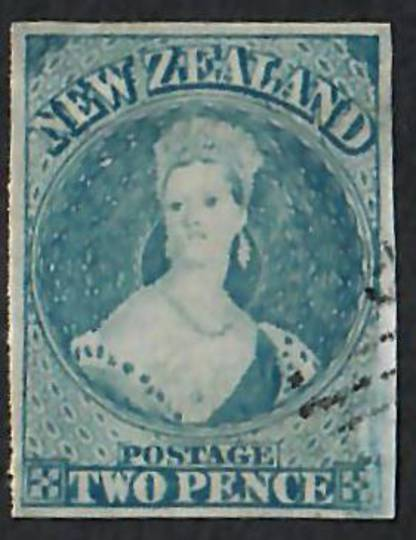 NEW ZEALAND 1855 Full Face Queen 2d Bright Blue Imperf. Fine postmark and good appearance. - 60020 - VFU