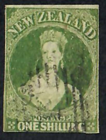 NEW ZEALAND 1855 Full Face Queen 1/- Green. Imperf. Almost 4 margins. Good rich colour. Light postmark. - 60077 - FU