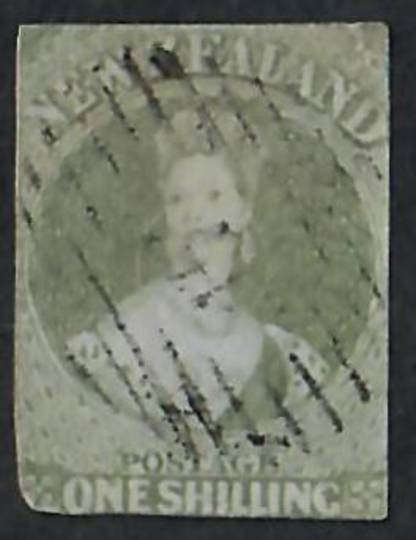 NEW ZEALAND 1855 Full Face Queen 1/- Green on blued paper.  Imperf. Cut square but touching all round. Attractive postmark. - 60