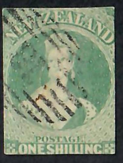 NEW ZEALAND 1855 Full Face Queen 1/- Green. Imperf. No watermark. Cut along the frame lines all round. Fine postmark. - 60082 -