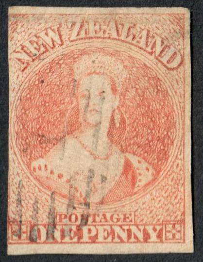 NEW ZEALAND 1855 Full Face Queen 1d Orange. Imperf.  No Watermark. Fine cancel. 3 margins. Identified by vendor as SG 48 £800. C