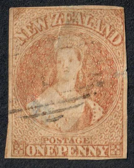 NEW ZEALAND 1855 Full Face Queen 1d Red. Imperf. No Watermark. Richardson print. Cut square. Four margins.Very light postmark. -