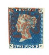 GREAT BRITAIN 1840 2d Blue.Imperf 4 margins.Letters C F. Beautiful Red Maltese Cross strike .Superior copy of exhibition quality