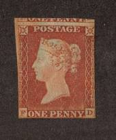 GREAT BRITAIN 1841 Victoria 1st 1d Red-Brown. Paper more or less blued. 2½ margins. Toned. - 70041 - MNG