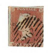 GREAT BRITAIN 1841 1d red -brown. Postmark 26. Four margins. - 70043 - FU
