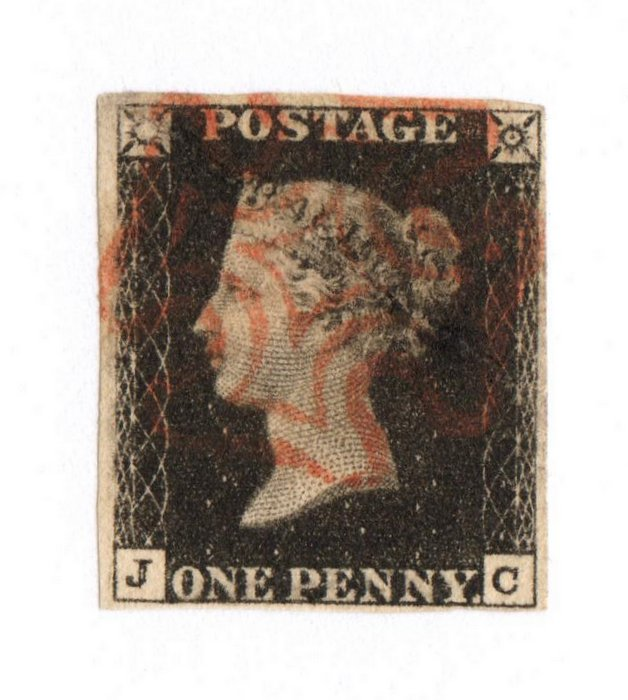 GREAT BRITAIN 1840 1d Black. Nice copy with red Maltese Cross cancel. Letters JC. - 70051 - FU