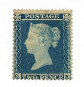 GREAT BRITAIN 1854 2d Deep blue. Perf 16. Rare in mint condition. Watermark Small Crown. Letters QK. - 70056 - MNG