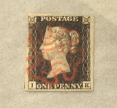 GREAT BRITAIN 1840 1d Intense black. Four margins. Letters IK. Light red Maltese Cross. Unplated. Very fine. - 70392 - VFU