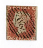 GREAT BRITAIN 1841 1d Deep Red-Brown. Letters PE. Postmark 29 in diamond in bars. - 70434 - Used