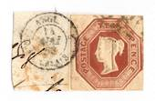 GREAT BRITAIN 1847 10d Brown. Cut square.Hugh margins. On piece with ANGE CALAIS postmark. Tied. - 70436 - VFU