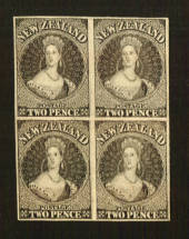 NEW ZEALAND 1855 Full Face Queen Proofs of the 2d in block of 4. - 70451 - Proof