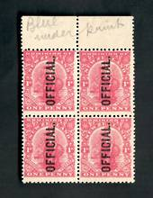 NEW ZEALAND 1909 1d Dominion Official. Imitation watermark. Selvedge Block of 4 with letters waternmark in the selvedge. - 70455