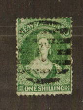 NEW ZEALAND 1862 Full Face Queen 1/- Green. Watermark Large Star. Perf 12½ at Auckland. Good perfs. Heavy postmark frames the fa