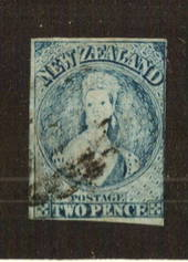NEW ZEALAND 1855 Full Face Queen 2d Pale Blue. Plate 1 worn. Watermark NZ. Imperf. Almost four margins, just touching at right.