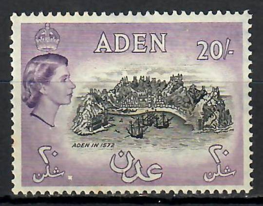 ADEN 1953 Elizabeth 2nd Definitive 20/- Black and Deep Lilac. - 70902 - UHM