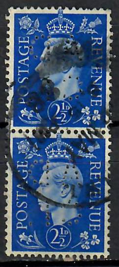 GREAT BRITAIN 1938 Geo 6th Definitive 2½d Bue with AD-CI perfin Vertical pair. - 7151 - Perfin