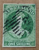 NEW ZEALAND 1855 Full Face Queen 1/- Green. Watermark NZ. Four margins. Medium-Light postmark but it does cover the face. - 7163