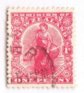 NEW ZEALAND 1909 1d Dominion with the Globe Flaw Plate 12 Row 5/24. On Cowan thick chaly paper. CP J6a. - 74022 - FU
