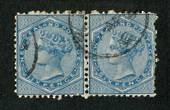 NEW ZEALAND 1874 Victoria 1st First Sideface 6d Blue. Joined pair. Very nice item. - 74062 - FU