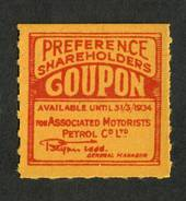 NEW ZEALAND 1934 Associated Motorists Petrol Co Ltd. Preference Shareholders Coupon. - 74164 - Cinderellas