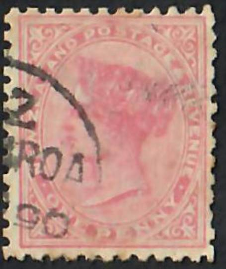 NEW ZEALAND 1882 Victoria 1st Second Sideface 1d Rose. Temporary use of Life Insurance paper (1890). Perf 12 x 11½.  The '90 sho