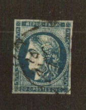 FRANCE 1870 Ceres Definitive 20c Deep Blue Type 2. Has has creases but these are not apparent from the front. The postmark is no